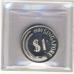 Singapore 1 Dollar 1980 Proof Silver. KM 6a.