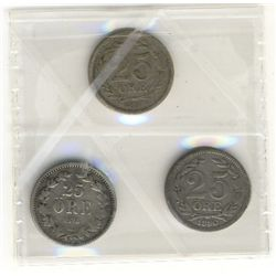Sweden; 25 Ore 1876 ST F-12, 1880 EB VF-20 and 1898 EB VF-30. Lot of 3 coins.