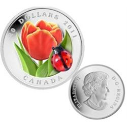 2011 Canada; $20 Tulip with Lady bug. In original case.