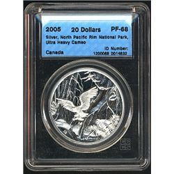 5 Dollars 2005, CCCS PF-68; Silver, Atlantic Walrus & Calf, Ultra Heavy Cameo in a hard casing.