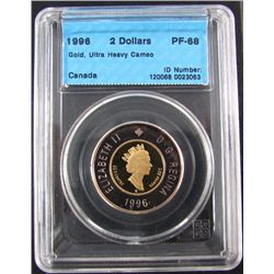 RCM Lot; 1996 2 Dollars Gold UHC, CCCS PF-68 in hard holder.