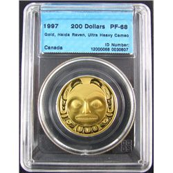 RCM Lot; 1997 200 Dollars Gold Haida Raven UHC, CCCS PF-68 in hard Casing. 0,5 oz AGW.