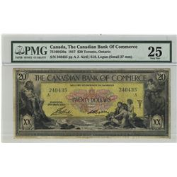 The Canadian Bank of Commerce; 1917 20 Dollars, PMG VF-25 Charlton 75-16-04-20a, 240435.