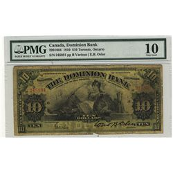 The Dominion Bank of Canada 1910 10 Dollars #245891 CH-220-18-04 PMG VG10.