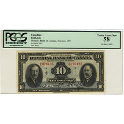 The Imperial Bank of Canada 1939 10 Dollars #E076435 CH-375-24-04 PCGS CH AU58. Looks Uncirculated