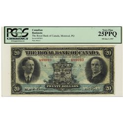 The Royal Bank of Canada 1927 20 Dollars #489093 CH-630-14-12 PCGS VF25PPQ.