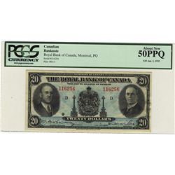 The Royal Bank of Canada 1935 20 Dollars #116256 CH-630-18-06a PCGS AU50PPQ.