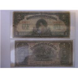 1898 Dominion of Canada; 1 Dollar & 1917 DC-23a VG. 2 notes.