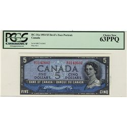 1954 Bank of Canada 5 Dollars BC-31a #BC3142602 PCGS CH UNC63PPQ.