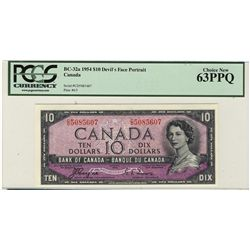 1954 Bank of Canada 10 Dollars BC-32a #CD5085607 PCGS CH UNC 63PPQ.