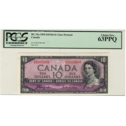 1954 Bank of Canada 10 Dollars BC-32a #CD5085608 PCGS CH UNC 63PPQ.