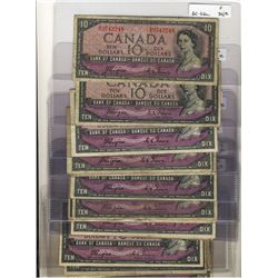 1954 Bank of Canada ; 10 Dollars BC-32a.  Lot of 15 notes notes F to VF.  Some with ink marks.