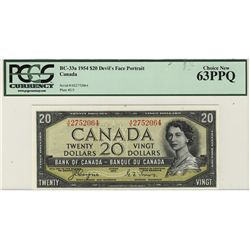 1954 Bank of Canada 20 Dollars BC-33a #AE275064 PCGS CH UNC63PPQ.
