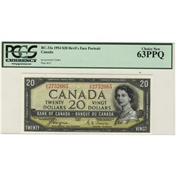 1954 Bank of Canada 20 Dollars BC-33a #AE275065 PCGS CH UNC63PPQ.
