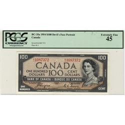 1954 Bank of Canada Bank of Canada; 100 Dollars, PCGS EF-45 Charlton BC-35a, Devil's Face A/J1087372