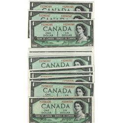 1954 Bank of Canada; 1 Dollar BC-37a #ML3296326 to 3296348.  Lot of 23 notes EF to UNC