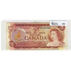 1974 Bank of Canada; Fine, BC-47a, UH3333333.  Solid Number issue.