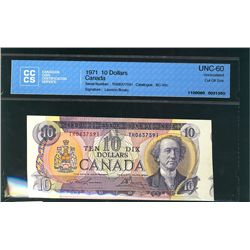 1971 Bank of Canada; 10 Dollars BC-49c, CCCS UNC-60 Cut Out of Register TH0637591