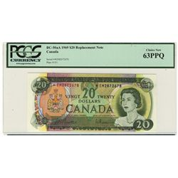 1969 Bank of Canada Bank of Canada; 20 Dollars, PCGS UNC-63 PPQ Charlton BC-50aA, *EM2872678 Replace