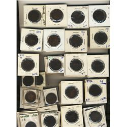 1859 to 1901 1 Cent; Various Victorian dates VG to VF.  Many duplicates.  Approx 85+ pcs with 1891 S