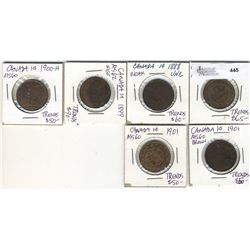 1882H 1 Cent 1888 1 Cent 1899 1 Cent 1900H & 1901(3).  Lot of 6 UNC issues.