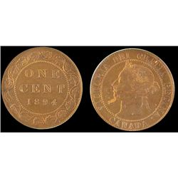 1894 1 Cent CCCS MS-63; Red & Brown 1 Cent Thick 4 1 Cent GR-222 in hard casing.