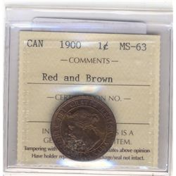 1900 1 Cent ICCS MS-63; Red and Brown.