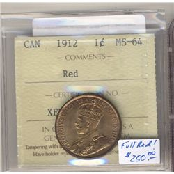 1912 1 Cent ICCS MS64; Red.