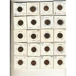 1920 to 1963 1Cent; George V(11) VG or better, 1938, 1947ml(5), 1947 UNC & 1960 to 1979(14) UNC to P