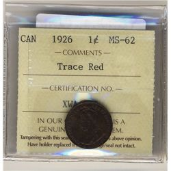 1926 1 Cent ICCS MS62 Trace Red.