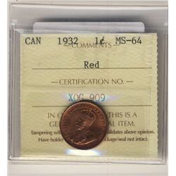 1932 1 Cent ICCS MS64RD. Sharp 95% red issue.