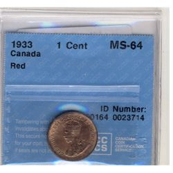 1933 1 Cent CCCS MS-64; Red.