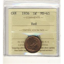 1936 1 Cent ICCS MS65RD. 95% subdued red.