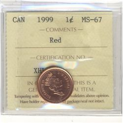 1999 1 Cent ICCS MS-67; Red.
