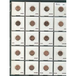 Large lot of 1 cent; 1999P, 2000, 2000W, 2001, 2001P, 2002, 2002P, 2003 Old Effigy, 2003 New Effigy,