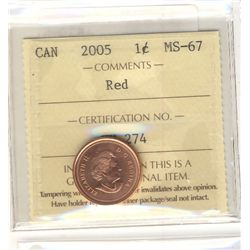 2005 1 Cent, ICCS MS-67; Red.