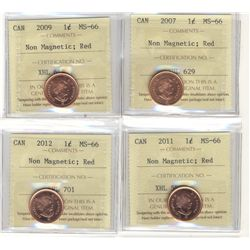 2007, 2009, 2011 and 2012, lot of  four cents, all ICCS MS-66; Red Non Magnetic.