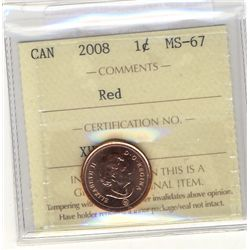 2008 1 Cent, ICCS MS-67; Red.