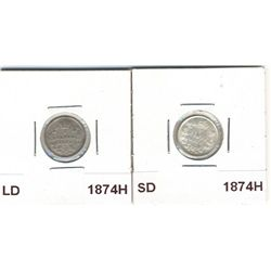 1874H SD AU-55 & 1874H LD VG-8. Lot of 2 coins.