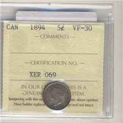 1894 5 Cents ICCS VF-30.