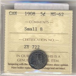 1908 5 Cents ICCS MS-62; Small 8.