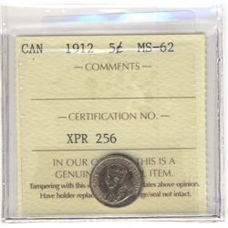 1912 5 Cents ICCS MS-62.