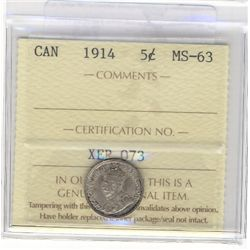 1914 5 Cents ICCS MS-63.