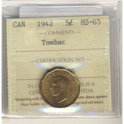 1942 5 Cents ICCS MS-65; Tombac