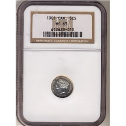 1901 5 Cents, NGC MS-63. White