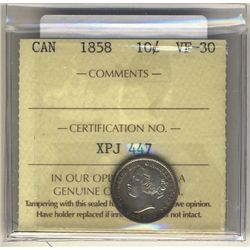 1858 10 Cents ICCS VF-30.