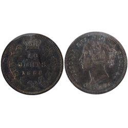 1858 10 Cents ICCS AU58. Should be designated as Doubled date.
