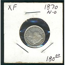 1870 10 Cents; Narrow 0, no tone VF+ with minor scratch on obv.