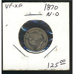 1870 10 Cents; Narrow 0, light colours VF+.