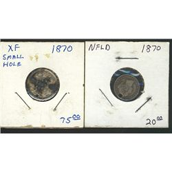 1870 10 Cents; Wide 0, EF+ & Nfld 1870 5 Cents Fine both with hole punch under date.